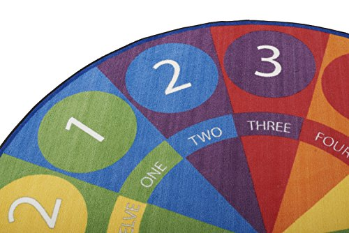 ECR4Kids Tick-Tock Clock Educational Circle Activity Rug for Children, School Classroom Learning Carpet, Round by ECR4Kids (Image #4)