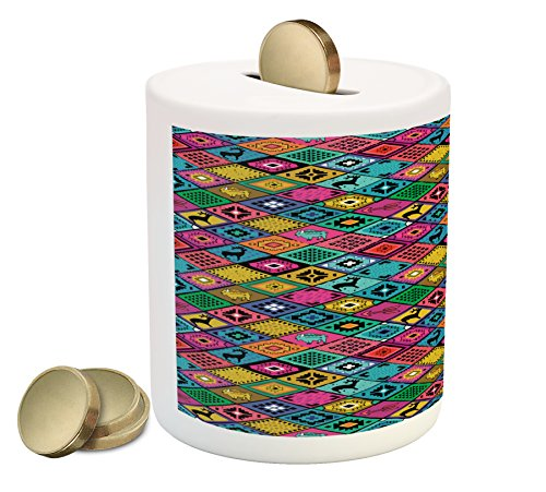 Ambesonne Southwestern Coin Box Bank, Patchwork Style Pattern in Hand Drawn Style Symbols and Patterns Boho Hippie, Printed Ceramic Coin Bank Money Box for Cash Saving, Multicolor