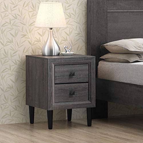 Depointer Life 2 Drawers Nightstand,Wood Bedside Storage Cabinet, Accent End Side Table Chest, Perfect for Home Furniture, Bedroom Living Room Accessories,Gray Oak