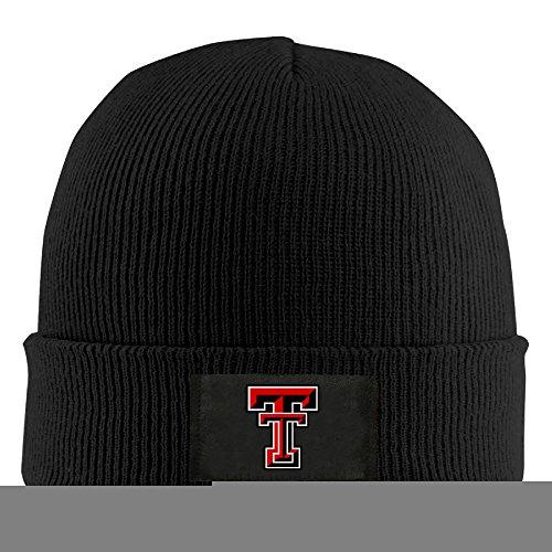 (Gdlov Texas Tech Red Raiders 8 Man Women Unisex Winter Warm Acrylic Watch Knit Wool Beanie Cap Hat Size One Size US Black)
