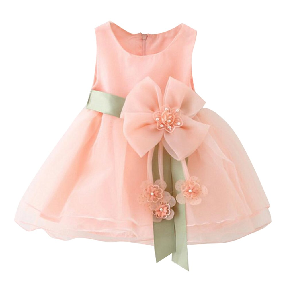Petali delle neonate del bambino vestito da partito convenzionale nuziale della damigella donore senza bretelle del fiore di colore rosa 0-6M 70cm