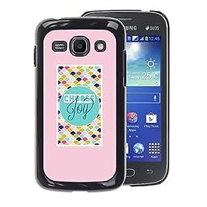 A-type Arte & diseño plástico duro Fundas Cover Cubre Hard Case Cover para Samsung Galaxy Ace 3 (Pink Teal Checkered Text Joy Peach Tiles)