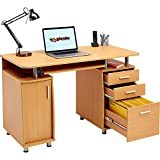 Large Computer and Writing Desk with A4 Filing, 2 Stationery Drawers and Cupboard for the Home...
