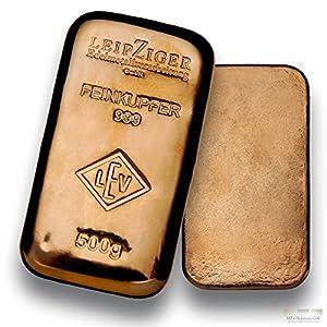 Kupferbarren - 500g - Feinkupfer 999.9 - gegossener Kupferbarren - Geschenkidee