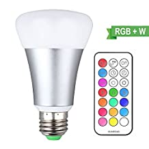 LED Bulb RGBW with IR Remote Control , Living Color Changing Lamp Dimmable RGB , DBTECH 10W E27 Base Night Atmosphere/Mood Lights , Pure Cool White Light , RGB + White [ Energy Class A ++ ]