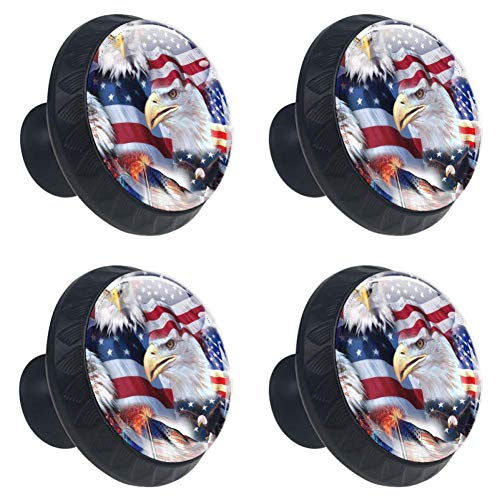 (LORVIES Patriotic Drawer Knob Pull Handle Crystal Glass Circle Shape Cabinet Drawer Pulls Cupboard Knobs with Screws for Home Office Cabinet Cupboard (4 Pieces) )