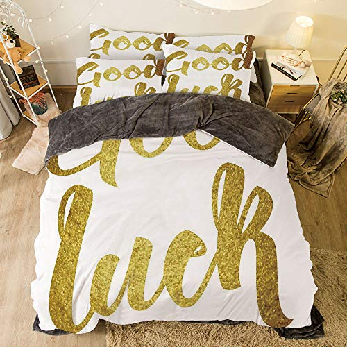 - iPrint Flannel 4 Piece Cotton Queen Size Bed Sheet Set for Bed Width 6.6ft Winter Holiday Pattern by,Going Away Party Decorations,Good Luck Wish Note Hand Written Lettering Greeting Card Concept,Gold