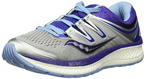 Saucony Women's Hurricane Iso 4 Running Shoe, Grey/Blue/Purple, 7.5 W US