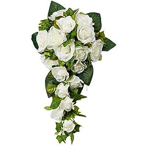 TheBridesBouquet.com Ivory Rose Cascade | Wedding Flowers | Bridal Bouquet | Wedding Bouquets | Artificial Flowers 88