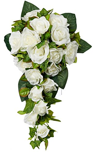 Ivory Silk Rose Cascade - Silk Bridal Wedding (Cascading Rose Bouquet)