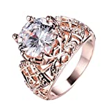 WOWJEW Chunky Round White Sapphire Rings Wedding Vintage 14KT Rose Gold Filled Engage Ring Sz5-9