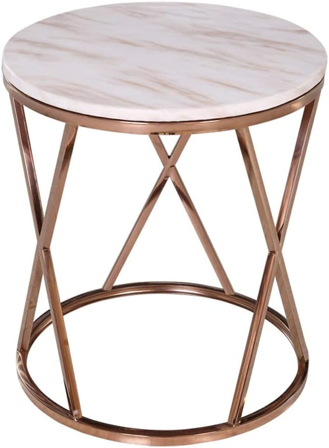 YNN ポータブルテーブル コーヒーテーブル大理石のソファーサイドテーブルラウンドベッドサイドテーブルのバルコニーレジャーテーブルラブトップデスクのリビングルーム50×55センチ