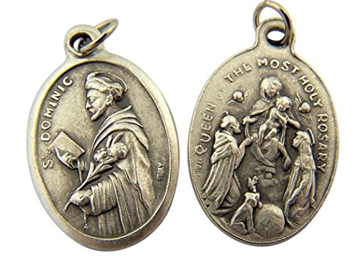 - Silver Toned Base Saint Dominic with Our Lady of the Rosary Medal, 1 Inch