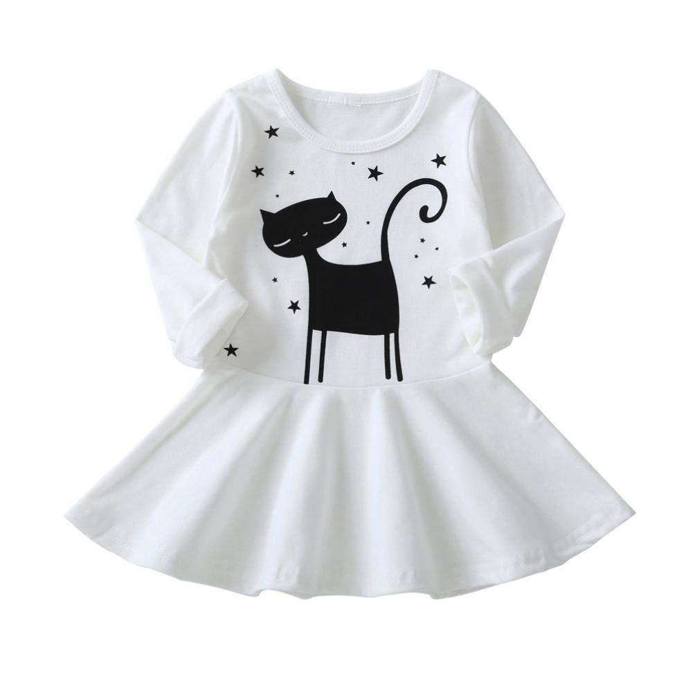 Yanhoo Bébé Filles bébé Enfants Chat Impression Robe vêtements Robes décontractées Jolie Robe de Princesse imprimée Combinaison de Mode Automne