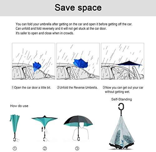 ユニセックス二重層防水ストレート傘車逆折りたたみ傘C形ハンドル付き