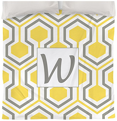 Manual Woodworkers & Weavers Duvet Cover, King, Monogrammed Letter W, Yellow Honeycomb Duvet Cover Honey
