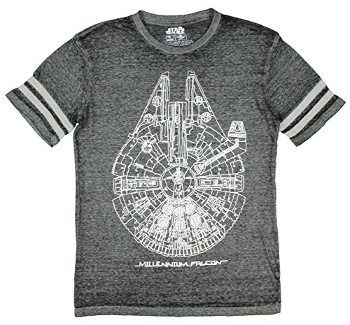 Star Wars Millennium Falcon Blueprint Hockey Graphic T-Shirt - Large