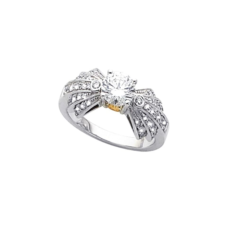 14K Two Tone Gold Diamond Engagement Ring   0.93 Ct