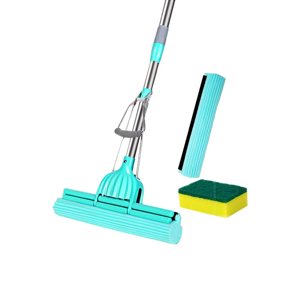 Wet Mops- Lazy Double Roller Pva Sponge Mop Set Perfect Floor Mop for Mopping Your Home Kitchen Bathroom Tile Window(Mop and 1 Extra Refill)