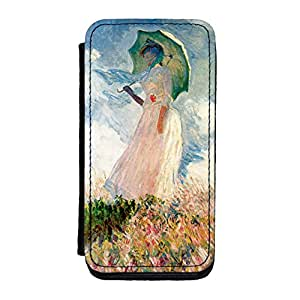 Girl with Umbrealla by Claude Monet Premium Faux PU Leather Case, Protective Hard Cover Flip Case for iPhone 5C by Painting Masterpieces