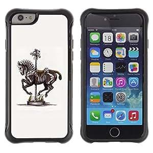 LASTONE PHONE CASE / Suave Silicona Caso Carcasa de Caucho Funda para Apple Iphone 6 / Horse Skeleton Fair Zebra Artistic