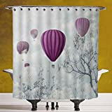 Decorative Shower Curtain 3.0 [Fantasy House Decor,Hot Air Balloons in the Clouds Dream Journey to Secret Paradise Romantic Design,Blue Purple] Bathroom Accessories with Hooks