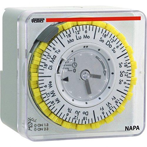 Vemer VP885800 Interruttore Orario Elettromeccanico Napa-W Grigio Chiaro
