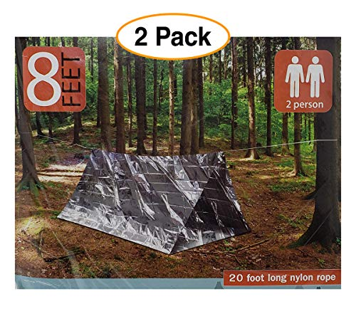 An American Company 2 Pack – Emergency Survival Shelter Tent | 2 Person Thermal Shelter | All Weather Tube Tent | Reflective Material| Lightweight | Waterproof Camping Gear