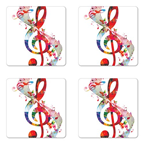 Music Coaster Set of Four by Ambesonne, Artwork