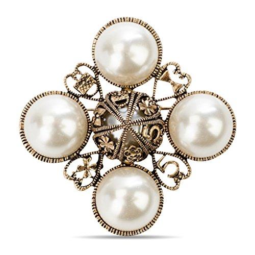 MISASHA Classic Elegant Inspired Faux Imitation Pearl Pin Brooch