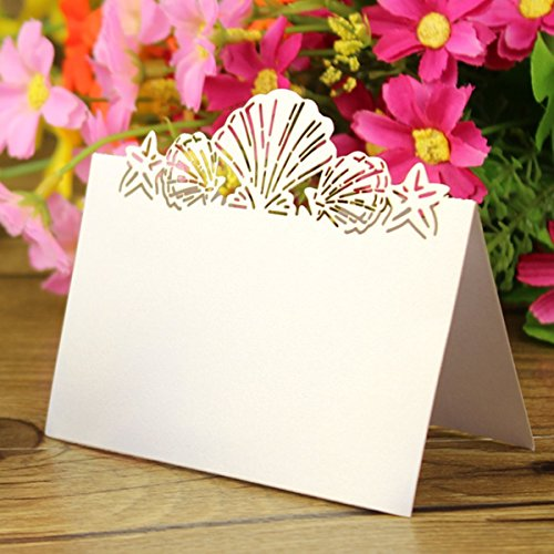 - Sorive® 50 Pack White Beach Themed Wedding Place Card Laser Cut Sea Shell Seashells Wedding Table Numbers Name PlaceCard