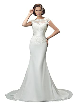 18d1cff234d2 Sisjuly Women's Illusion Beatu Neck Cap Sleeve Chiffon Mermaid Wedding Dress  Size 2 Ivory