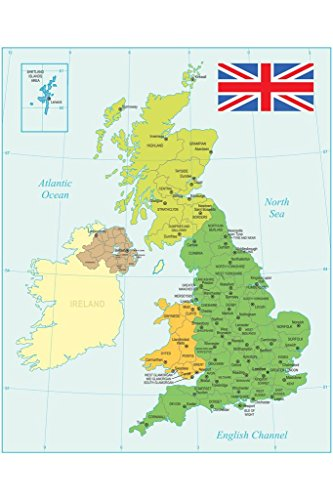 United Kingdom Map with Flag Art Print Poster 24x36 inch ()