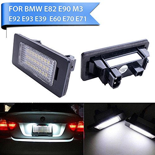 YUK for BMW 3 5 Series E39 E60 E90 E92 F30 F10 E82 White LED License Number Plate Light Lamp