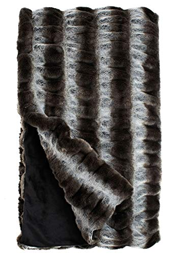 "Fabulous Furs: Faux Fur Luxury Throw Blanket, Grey Chinchilla, Available in generous sizes 60""x60"", 60""x72"" and 60""x86"", by Donna Salyers -  Donna Salyers' Fabulous Furs, 11016GRY"