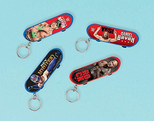 Amscan Grand Slammin' WWE Finger Skateboard with Keychain Birthday Party Favors (1 Piece), 3 1/8