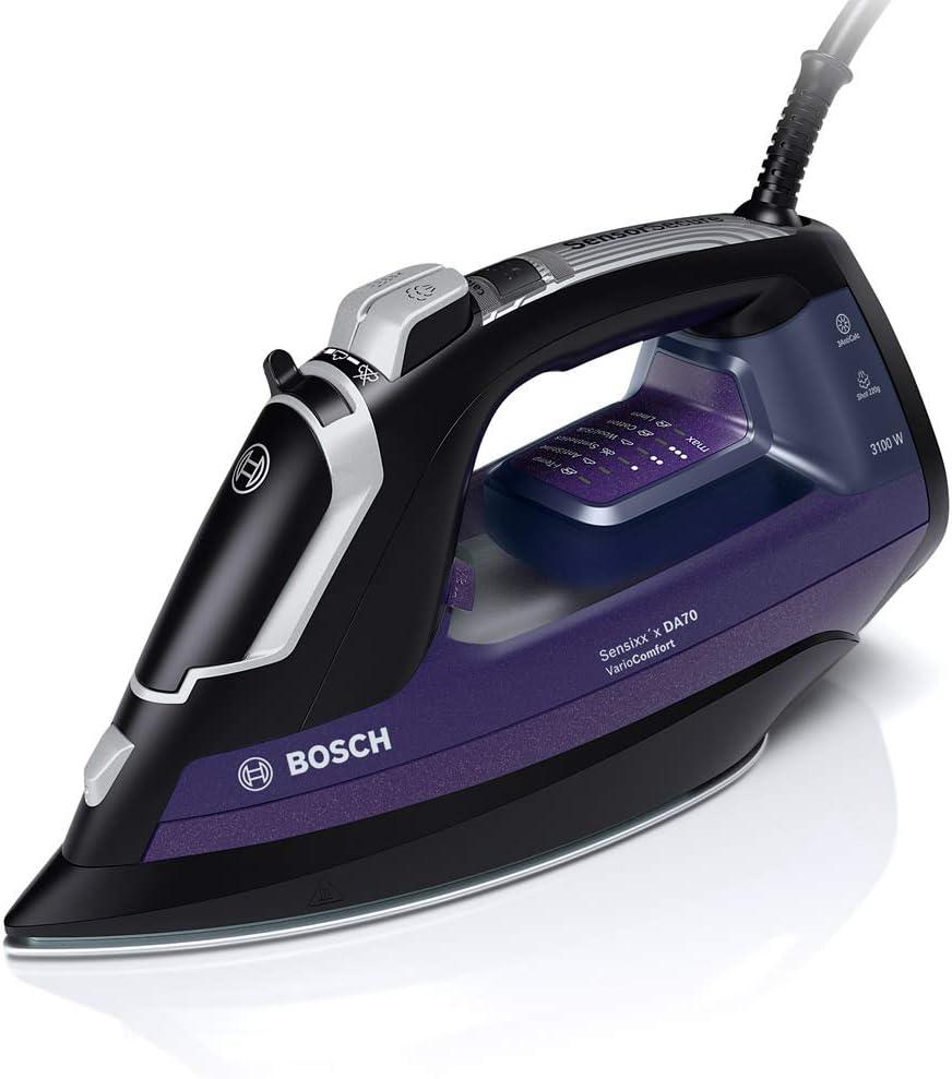 Bosch TDA753122V Plancha de Vapor, VarioComfort, Supervapor 220 g, Triple Tecnología Antical, 3100 W, 0.35 litros, Negro y Violeta