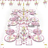 Unicorn Party Supplies Set|Pink Style Designed for Birthday Girls, Baby Showers, and First Birthday Party Favors with Plates,Table,Napkins,Cups,Tableware, Invitation CARDS, Birthday Hats and Party Eye Mask|78 Pieces