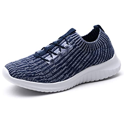 TIOSEBON Women's Lightweight Casual Walking Athletic Shoes Breathable Running Slip-On Sneakers 13 US Navy (Shoes To Wear With Light Blue Jeans)