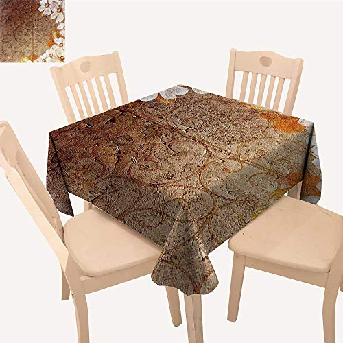UHOO2018 Polyester Fabric Tablecloth Square/Rectangle Flowers and Leav Pattern Wall Lin Classic Deco Brown Gold for Picnic,Outdoor or Indoor,50x 50inch