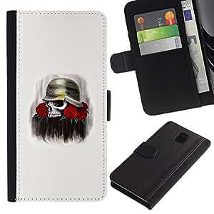A-type (Cráneo Rose Solider Guerra Muerte Flores) Colorida Impresión Funda Cuero Monedero Caja Bolsa Cubierta Caja Piel Card Slots Para Samsung Galaxy Note 3 III