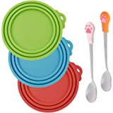 3 Pcs Silicone Pet Can Covers & 2 Pcs Pet Spoons, SENHAI Canned Food Lid and Spoon for Dog and Cat, One Meet Three Sizes - Red Green, Light Blue