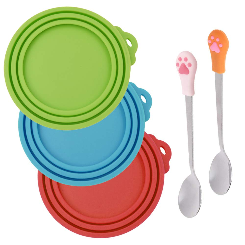 SENHAI 3 Pcs Silicone Pet Can Covers & 2 Pcs Pet Spoons, Canned Food Lid and Spoon for Dog and Cat, One Meet Three Sizes - Red Green, Light Blue