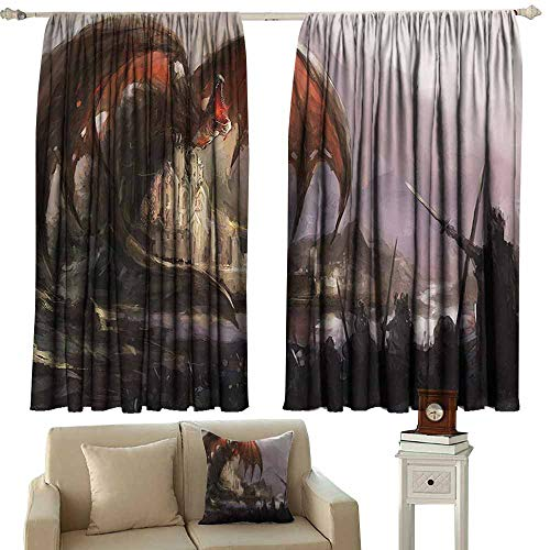 Black Out Window Curtain,Dragon Decor Collection Medieval Fantasy Theme Dragon and Dark Knights in Battle Scene with Fortress Castle,Energy Efficient, Room Darkening,W72x45L Inches,Grey Rustic Red