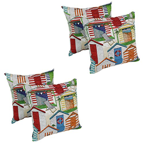 Nautical Throw Pillows Set of 4 Cabana Beach Hut 17 x 17 Inches Square Outdoor Indoor Patio Pool Side Furniture Garden Bench