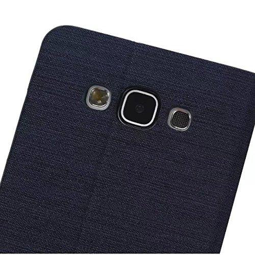 JIALUN-Personality teléfono shell Funda Samsung Galaxy E7, cubierta del soporte del tirón de la cubierta del silicón de TPU con la ranura para tarjeta, caja cruzada del cuero de la PU de la lona del m 1