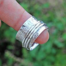 Spinning Ring Boho Ring Meditation Ring Labradorite Ring Anti Anxiety Ring Textured Ring Spinner Handmade Hammered Ring Floral Textured 925 Sterling Silver Spinner Ring Jewelry