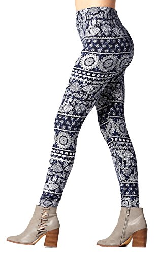 Conceited Super Soft High Waisted Printed Leggings for Women - Pattern - z Lucky Mr. Elephant - Small/Medium (0-12)