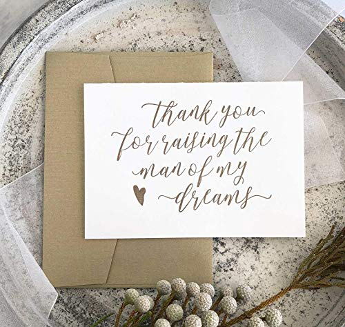 Gold Thank You for Raising the Man of My Dreams Wedding Day Card For Parents in Law