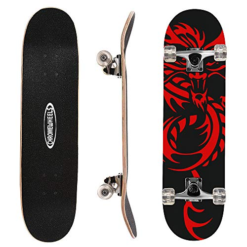 ChromeWheels 31 inch Skateboard Complete Longboard Double Kick Skate Board Cruiser 8 Layer Maple Deck for Extreme Sports and Outdoors (Best Skateboard Wheels For Beginners)
